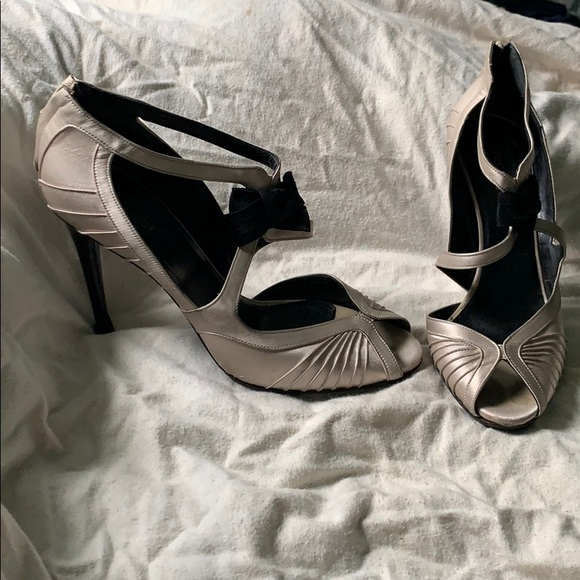 Gucci Shoes - Vintage Gucci Grey Satin Peep-toe Heels